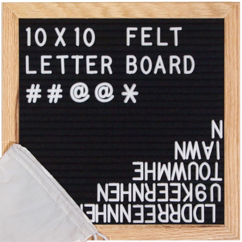 ReadyWerks Black Felt Letter Board 10x10 inches - Changeable Letter Boards Include 340 White Plastic Letters & Oak Frame