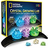 NATIONAL GEOGRAPHIC Crystal Growing Kit - 3 Vibrant Colored Crystals to Grow with Light-Up Display Stand & Guidebook, Include