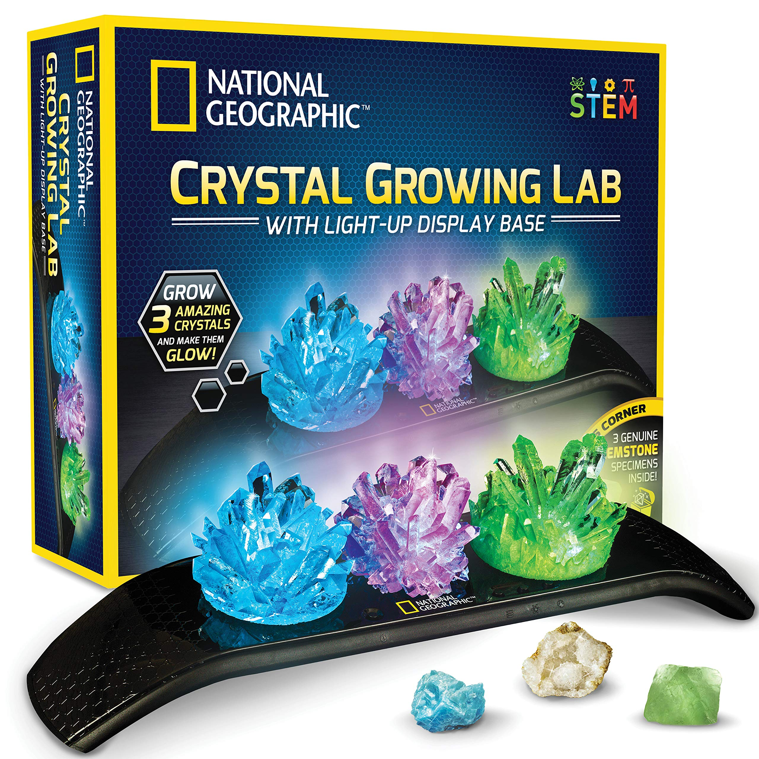 NATIONAL GEOGRAPHIC Crystal Growing Kit - 3 Vibrant Colored Crystals to Grow with Light-Up Display Stand & Guidebook, Includes 3 Real Gemstone Specimens Including A Geode & Green Fluorite