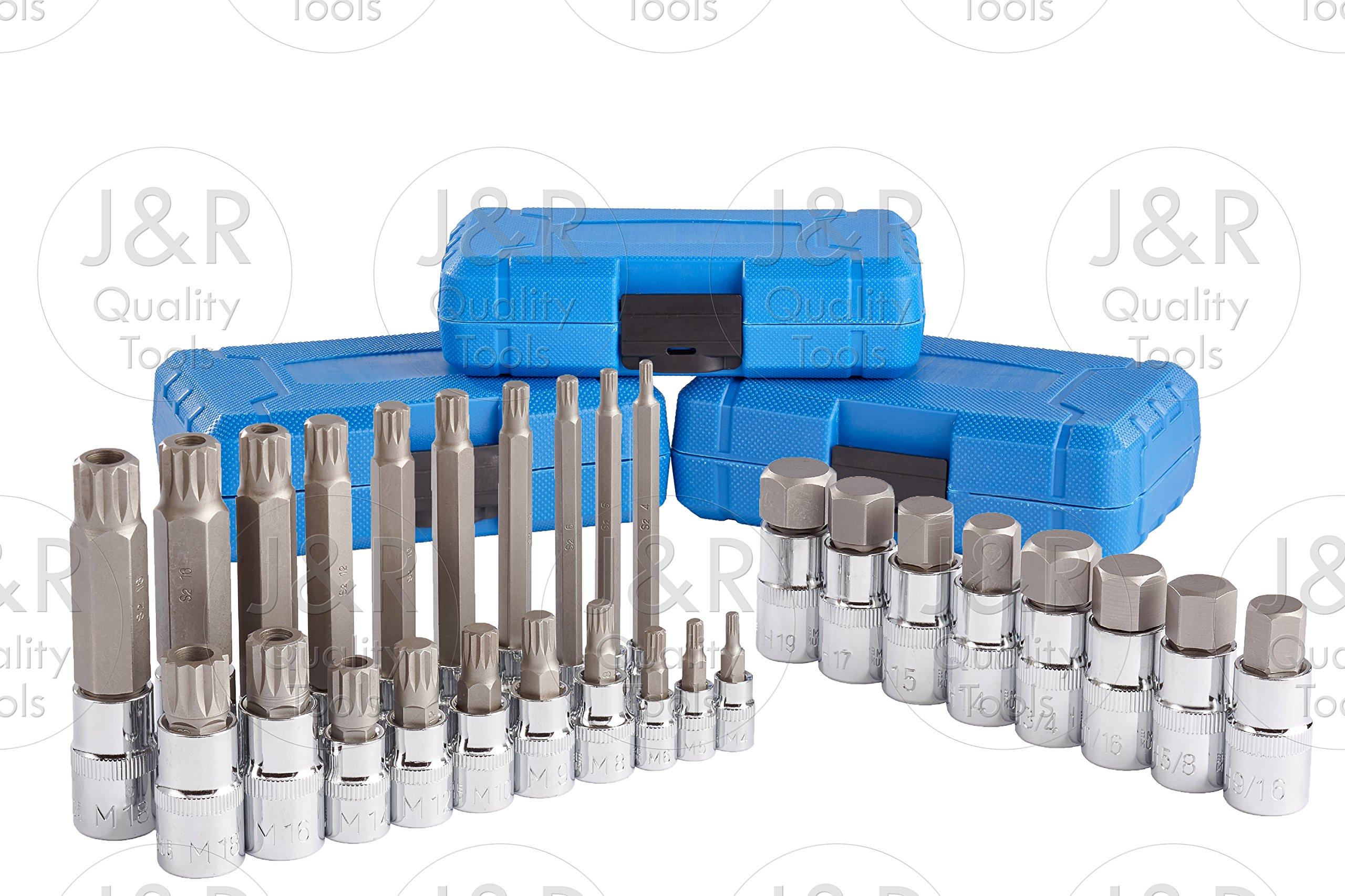 J&R Quality Tools 28pc Hex & XZN 12 Point MM Triple Square Spline Bit Socket Set Tamper Proof Bit by VECTOR