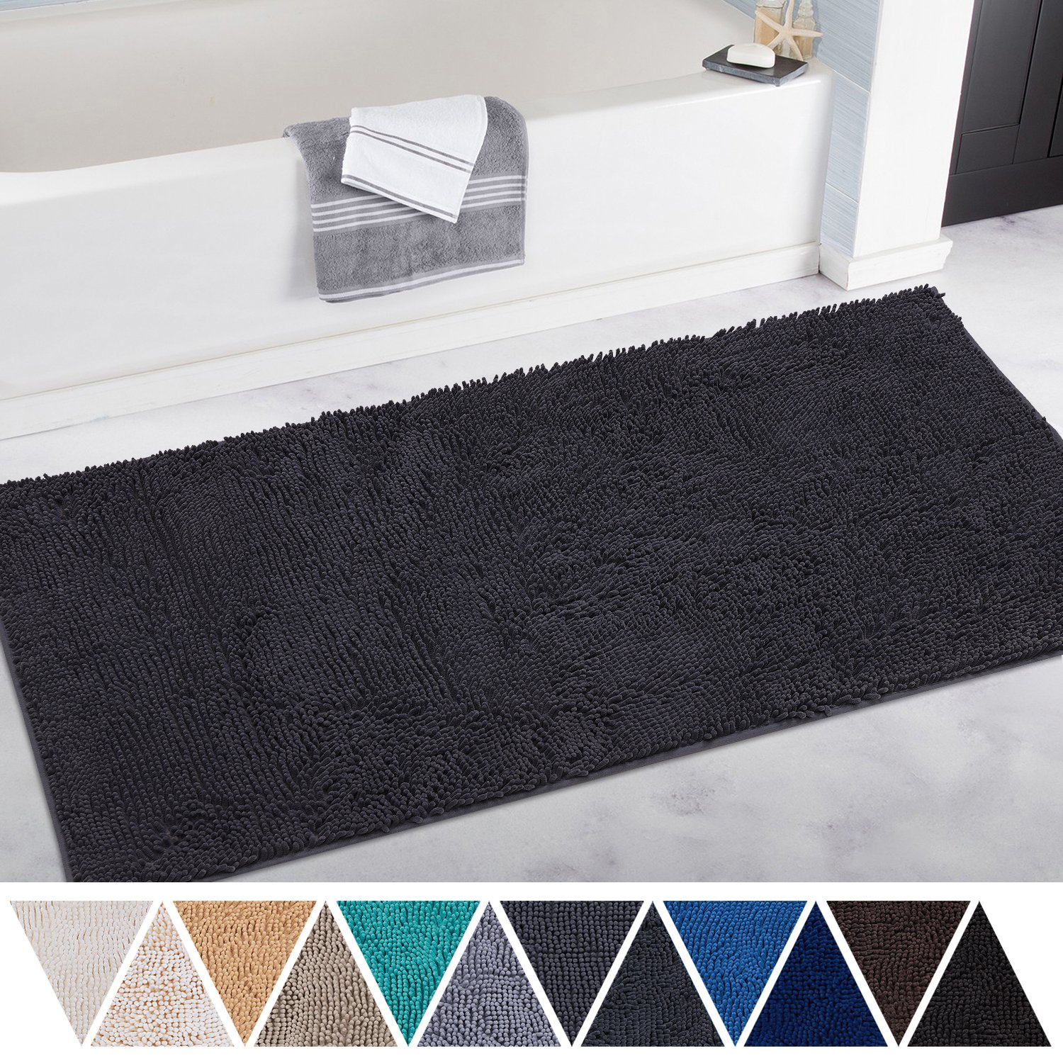 DEARTOWN Non-Slip Thick Microfiber Bathroom Rugs, Machine-Washable Bath Mats with Water Absorbent (27.5x47 Inches, Black)