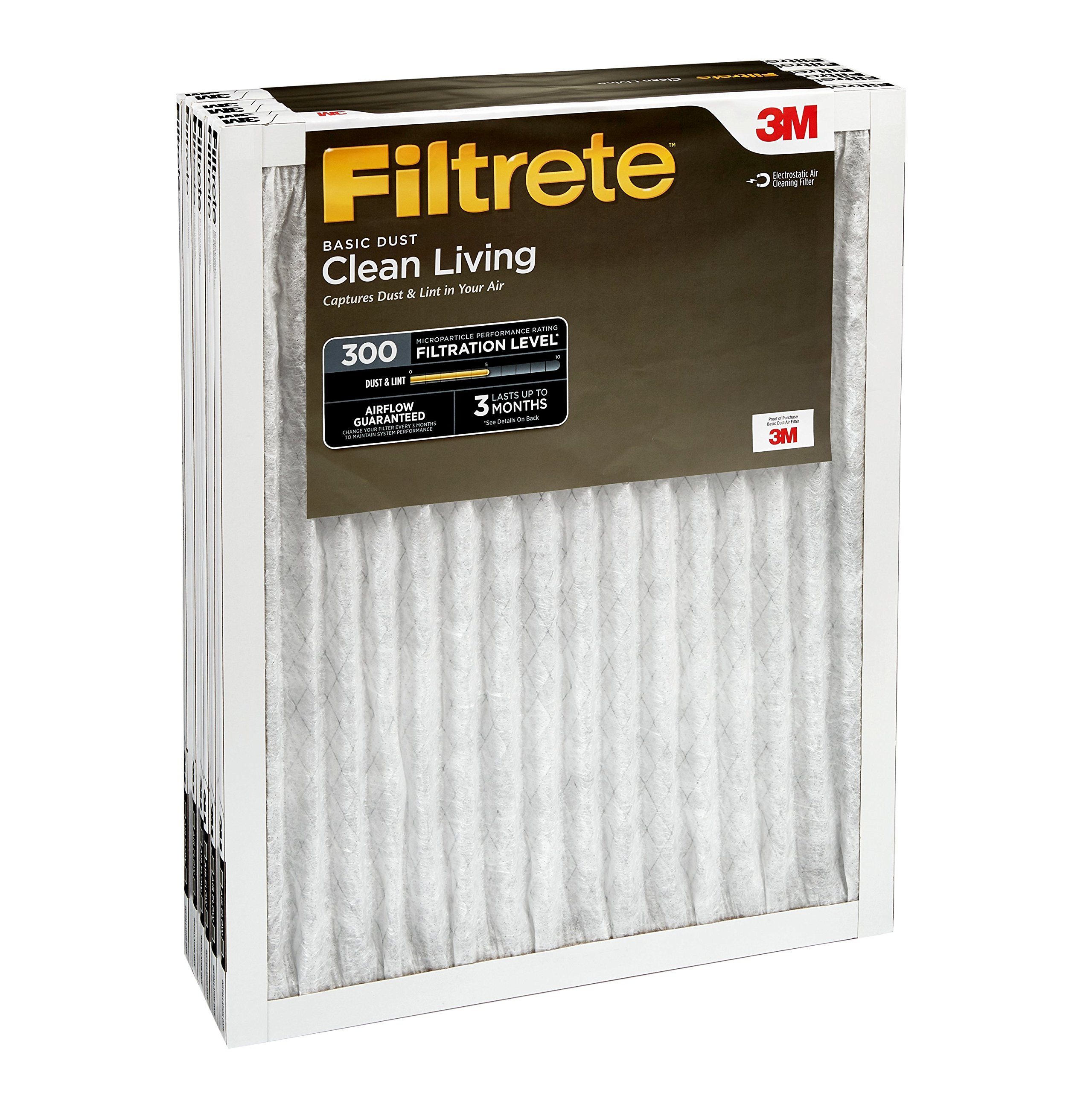 Filtrete 20x20x1, AC Furnace Air Filter, MPR 300, Clean Living Basic Dust, 6-Pack by Filtrete (Image #7)