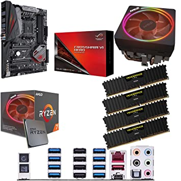 Components4All AMD Ryzen 7 2700X 3 7GHz (Turbo 4 3GHz) Eight Core Sixteen  Thread CPU, ASUS ROG Crosshair VI Hero Motherboard & 32GB 3200MHz Corsair