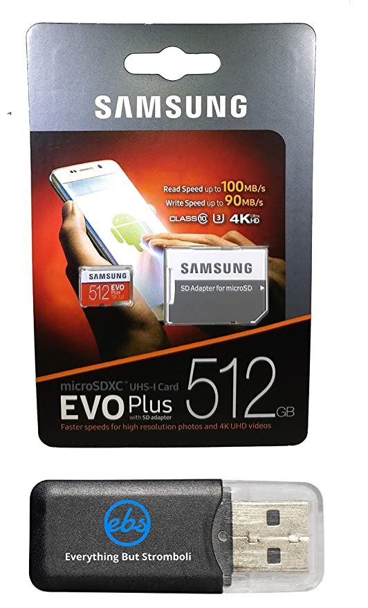 Paquete de 512 GB Micro SDXC EVO Plus Funciona con Samsung Galaxy ...