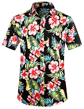 16497a736 PEGENO Men's Flower Casual Button Down Short Sleeve Hawaiian Shirt (Small,  Red Hibiscus)
