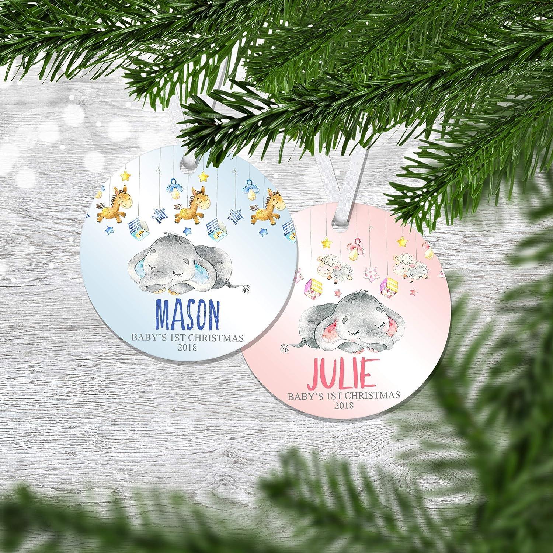 Personalized Baby Elephant Christmas Ornament - Baby Boy Christmas - Baby Girl Christmas - Newborn Ornaments - Babys First Christmas - Babies 1st Christmas 2018 - Xmas Ornament - RO0063 - RO0064