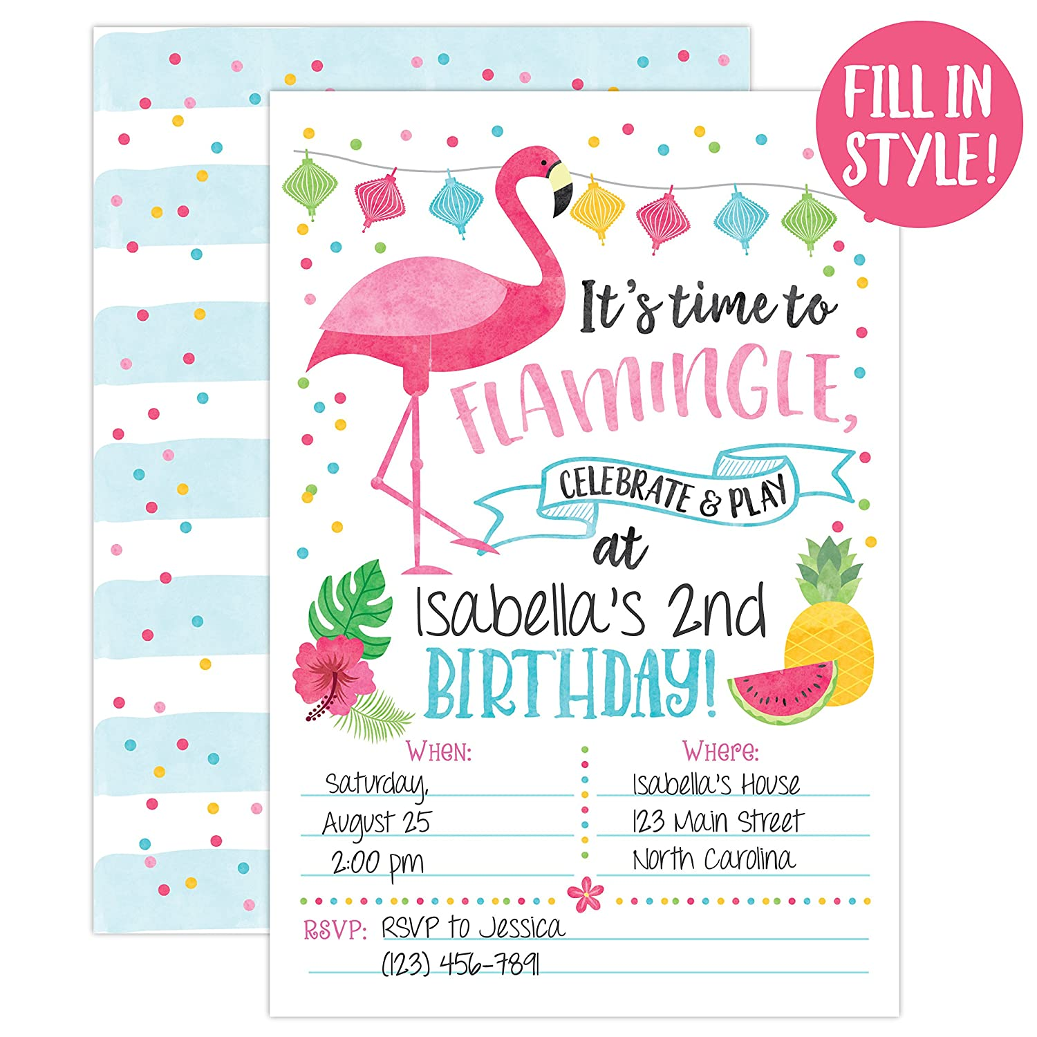 Your Main Event Prints Flamingo Birthday Invitations Flamingle Invites Luau Summer Party 20 Fill In With Envelopes