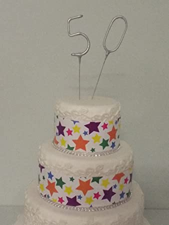 Sparkler Sparkling Number Birthday Cake Candles Age Aged 50 50th