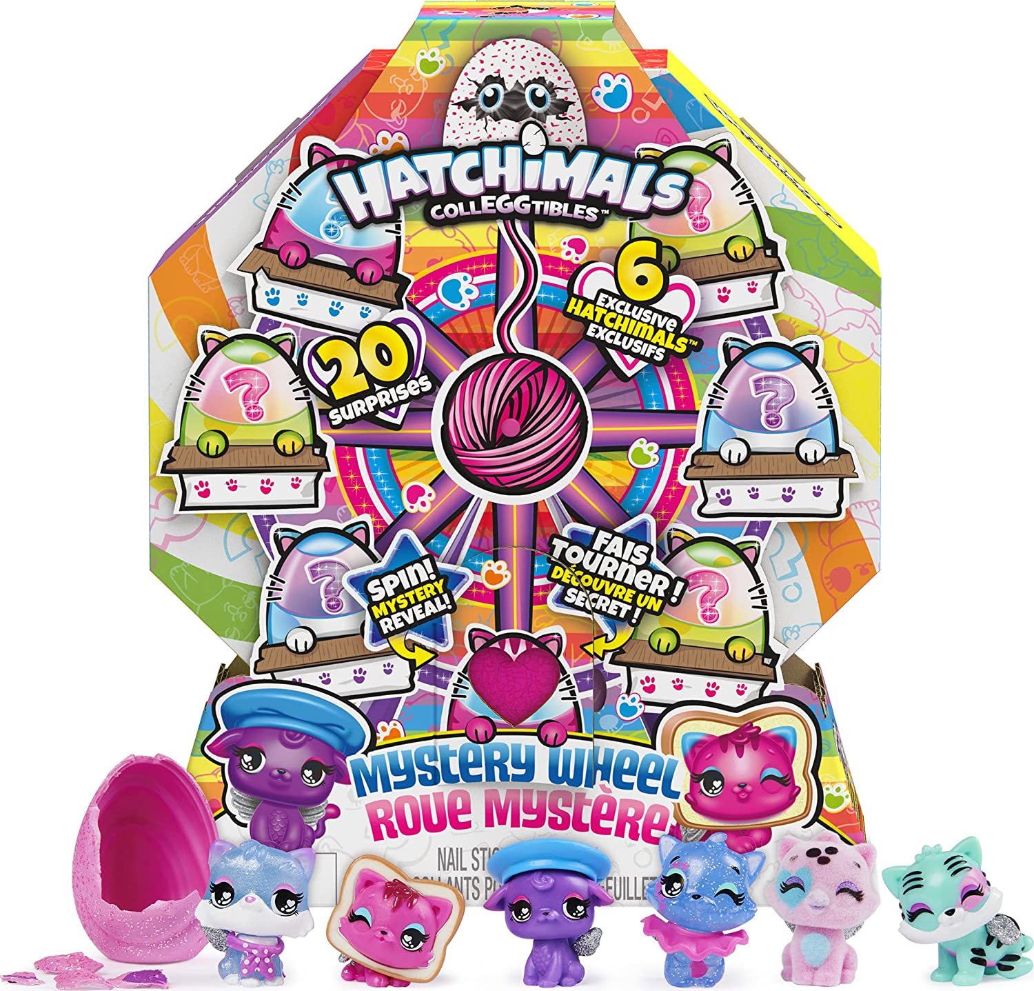 Hatchimals CollEGGtibles, Cat Crazy Mystery Wheel with 20 Surprises to UNbox, Girl Toys, Girls Gifts for Ages 5 and up