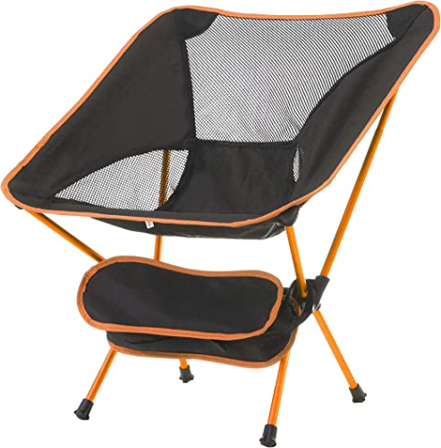 CAMPING WORLD Portable Ultralight Camping Folding Chairs with Aluminum Frame for Outdoor Orange Black