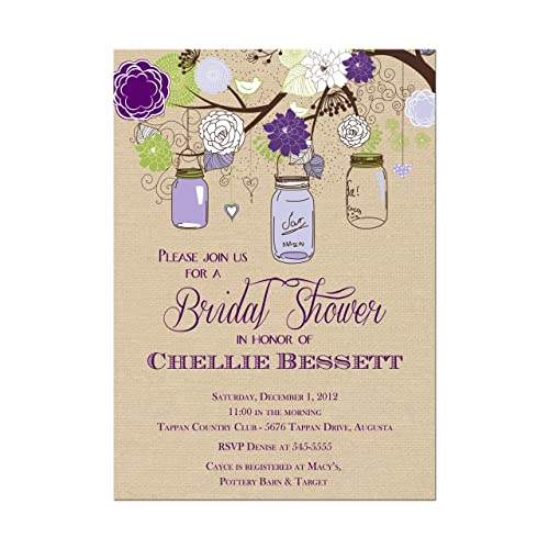 rustic mason jar bridal shower invitations in purple and green with burlap look background base