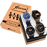Rich Club Analogue Multicolour Dial Men's Watch - 70BLU+3RED+BRASCUNTING+NEWTAN(Pack of 4)