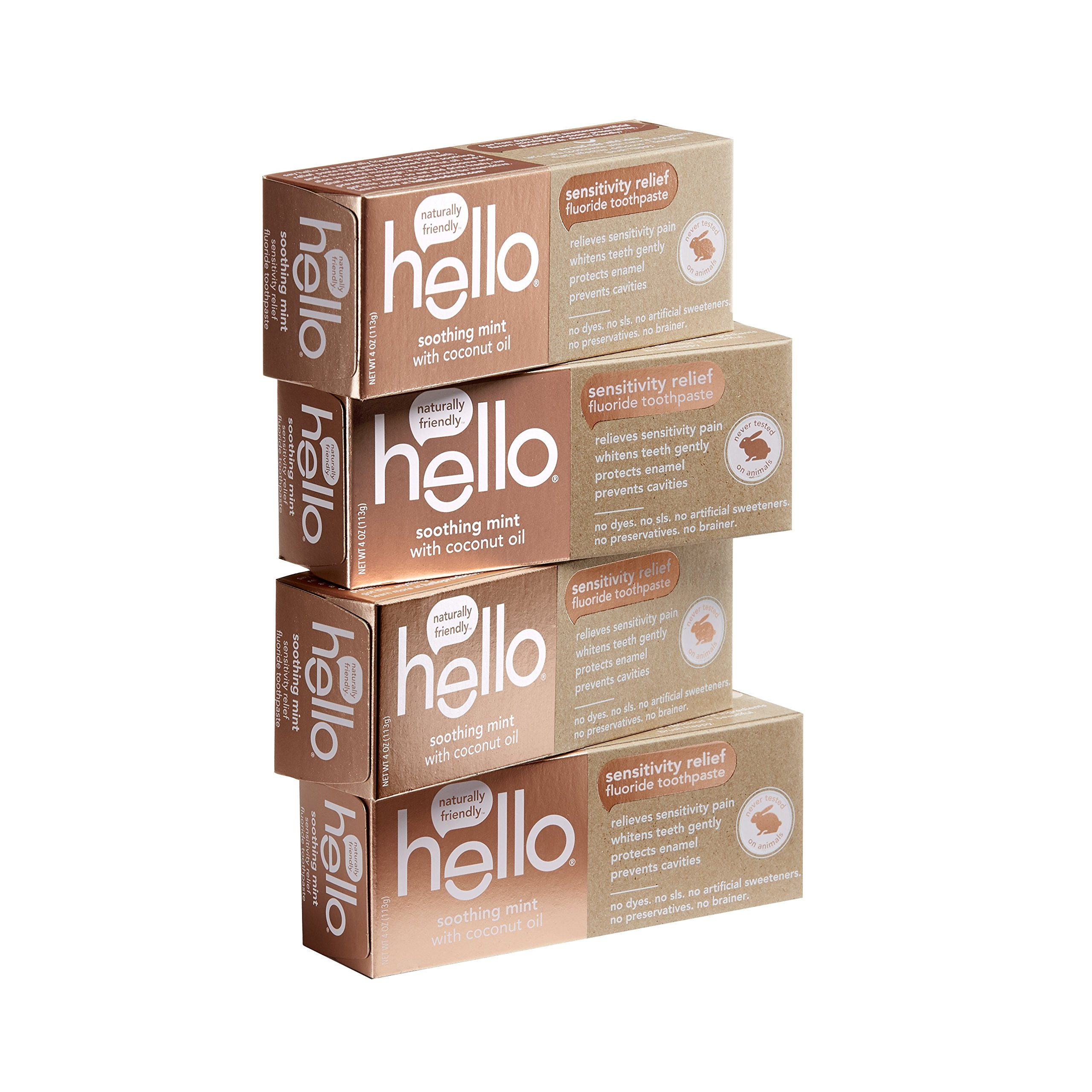 Hello Oral Care Sensitivity Relief Fluoride Toothpaste with No Artificial Sweeteners, SLS Free, Soothing Mint with Coconut Oil, 4 Count by Hello Oral Care