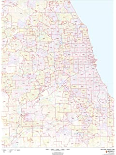 Amazon Com Cook County Illinois Il Zip Code Map Not Laminated