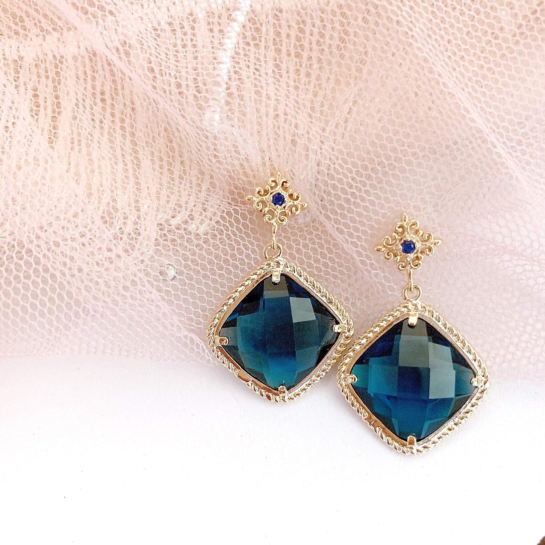 Sapphire Ball Navy Blue Sapphire Dangle Earrings One of a kind chandelier earrings Circle Of Life Earrings 14k Solid Gold