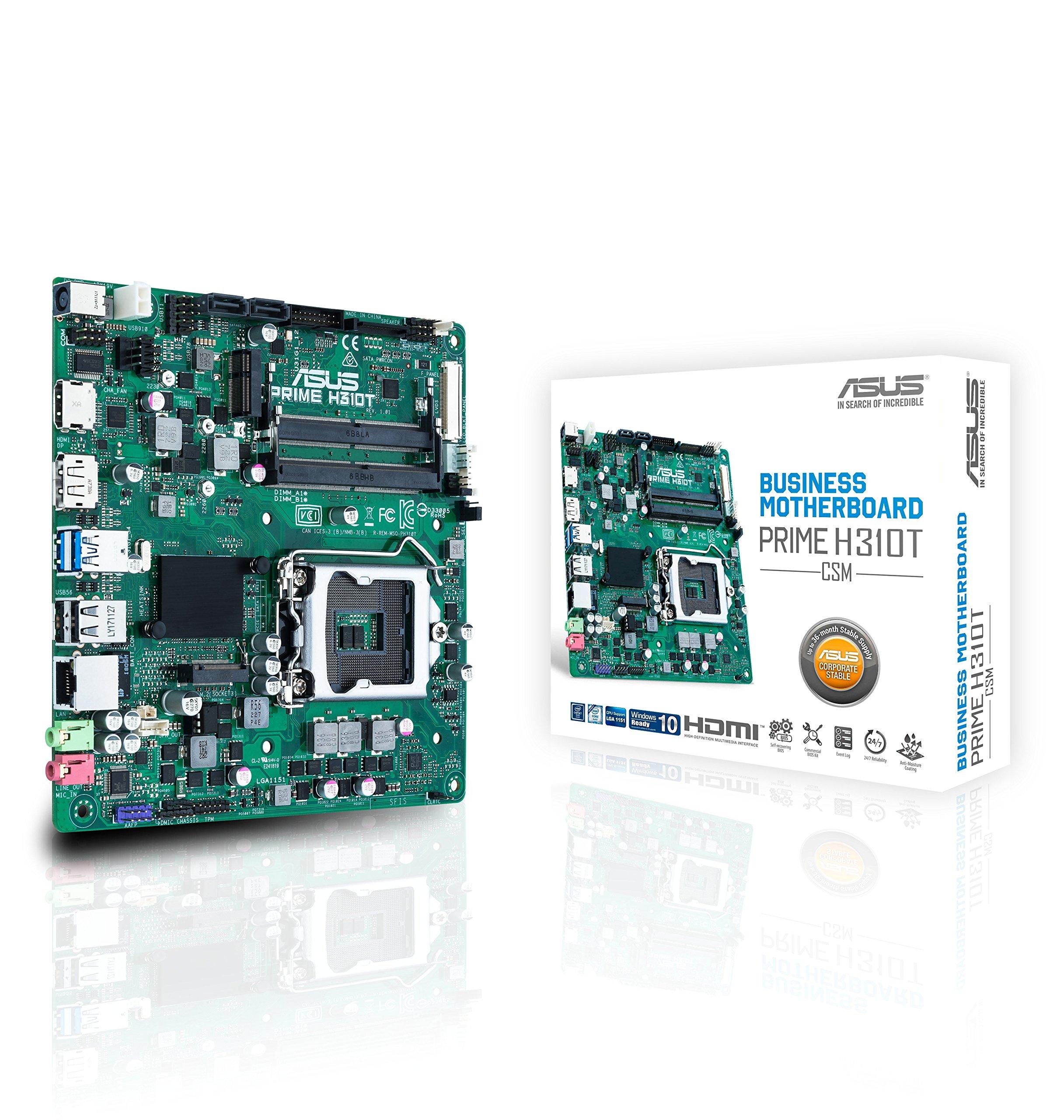 ASUS Prime H310T/CSM LGA1151 (300 Series) DDR4 M.2 DP HDMI LVDS Thin mITX Motherboard