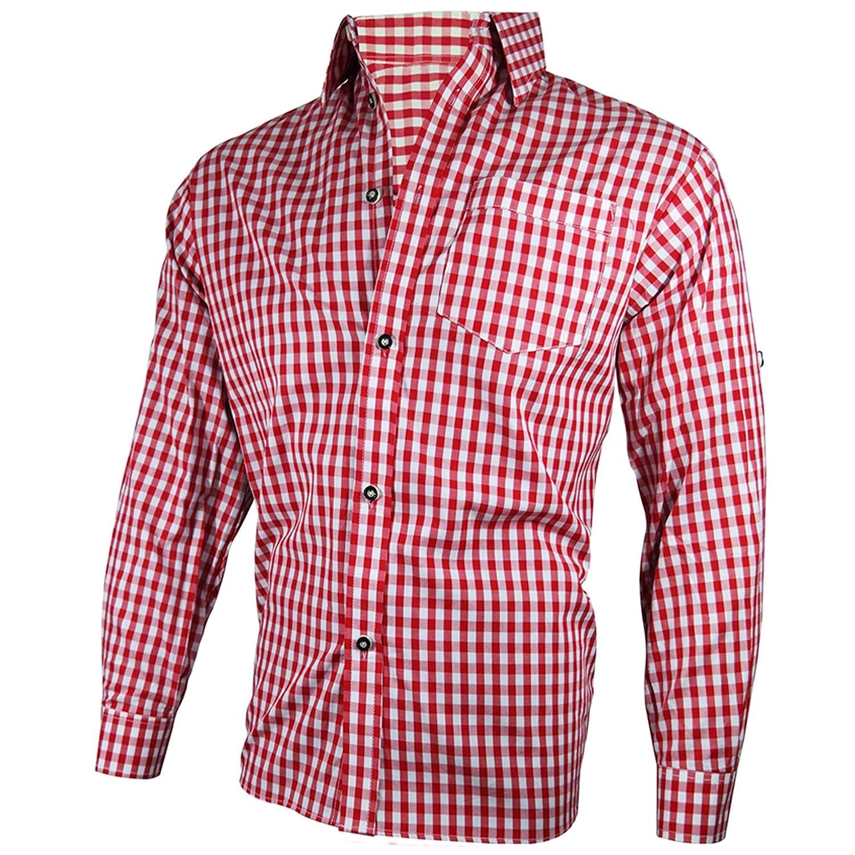 PAULGOS Trachtenhemd Hemd Trachten Karohemd Rot Blau Weiss Kariert