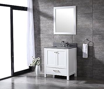 All Wood Diamond White Shaker Vanity Complete 30 Inch Grey