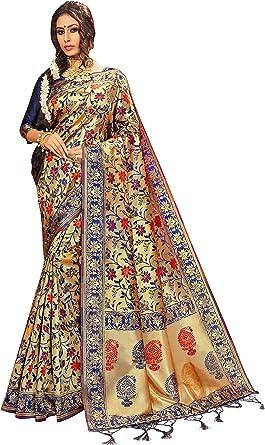 Sari ethnique indien traditionnel cadeau de mariage avec chemisier non cousu Style Instant Sarees pour femme Banarasi Art Saree