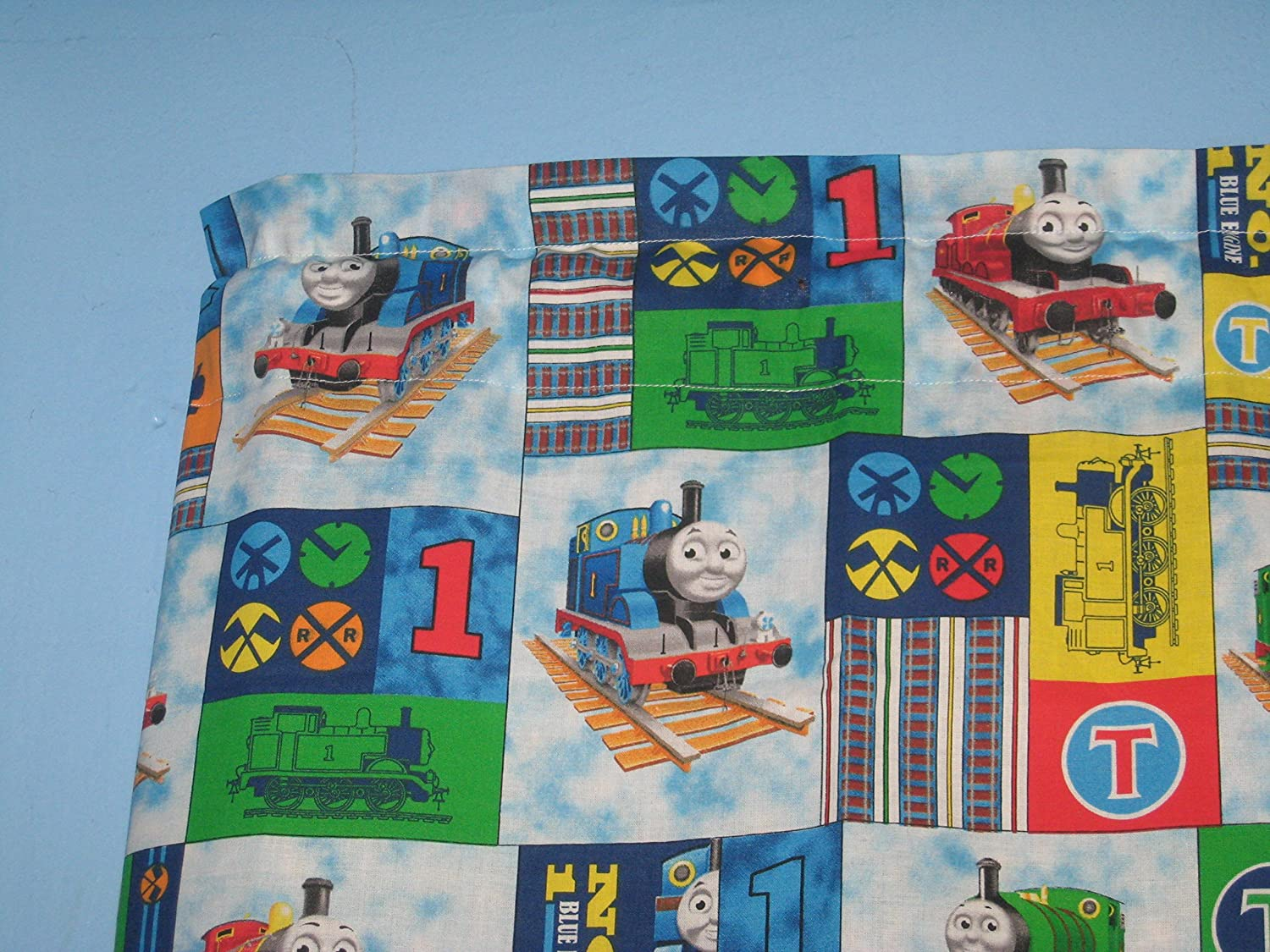 Amazon.com: Thomas The Train Handmade Cotton Window Curtain Valance ...