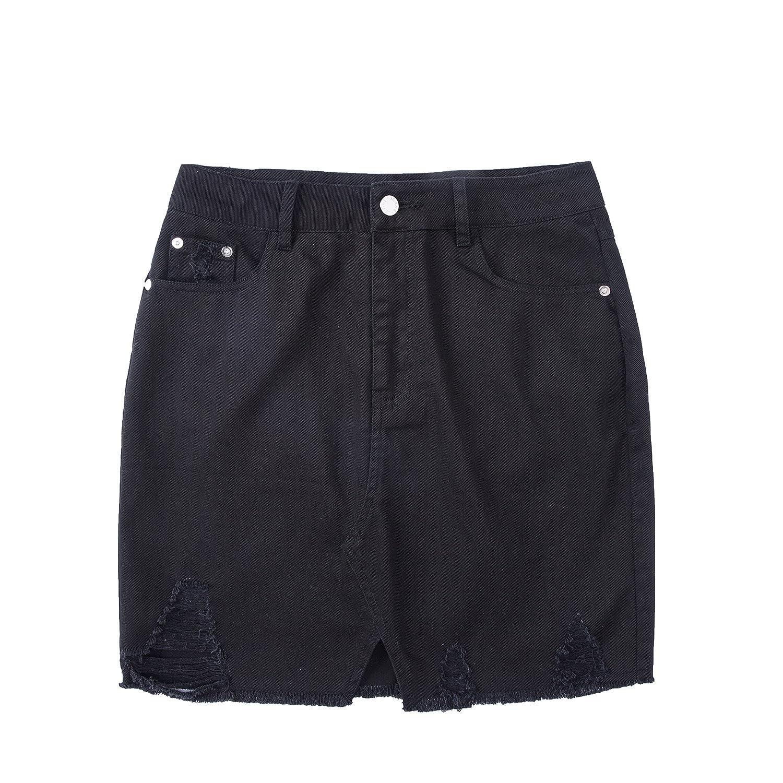 e9d359f7fe Tronjori Womens Distressed Ripped Denim Short Pencel Skirt, Frayed Hem at  Amazon Women's Clothing store: