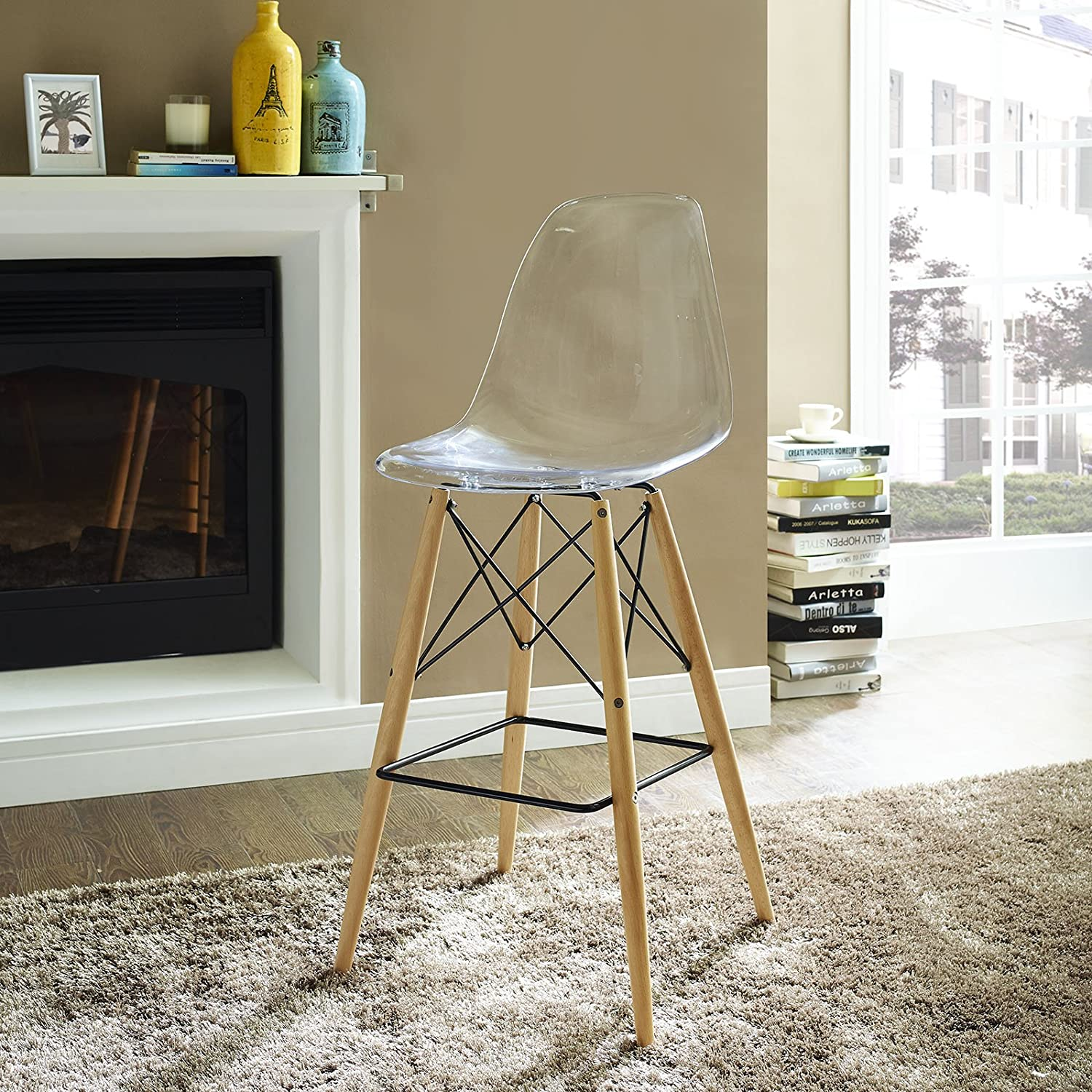 Amazon.com: Modway Pyramid Bar Stool With Natural Wood Legs In Clear:  Kitchen U0026 Dining
