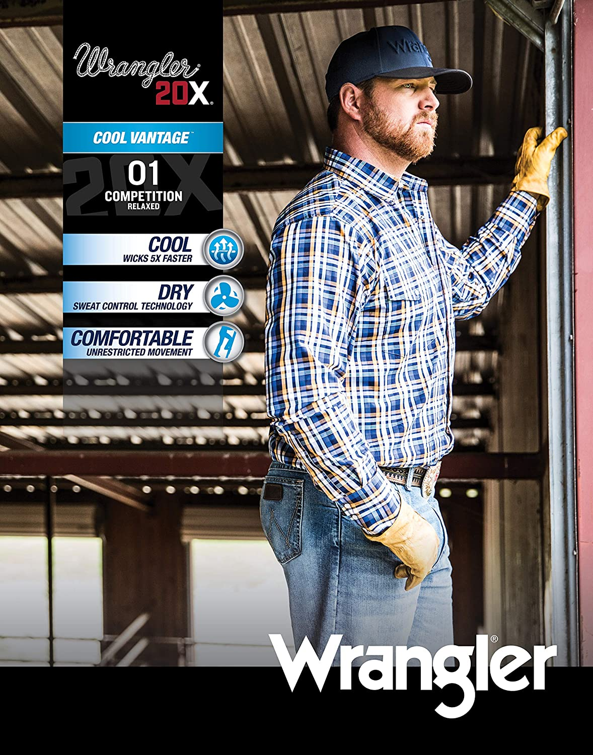 Wrangler Mens 20X Cool Vantage 01 Competition Relaxed Fit Jean