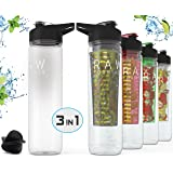 Fruit Infuser Bottle | Fruit Infused Water Bottle + Protein Shaker Bottle + 32oz Sport Bottle | Tritan BPA Free | 3 in 1 Interchangeability | Includes Infusion Rod & Shaker Ball