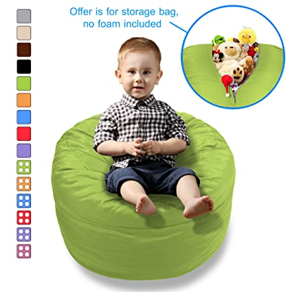 BeanBob Stuffed Animal Storage Bean Bag Chair In Green   2ft Large Fill U0026  Chill Space