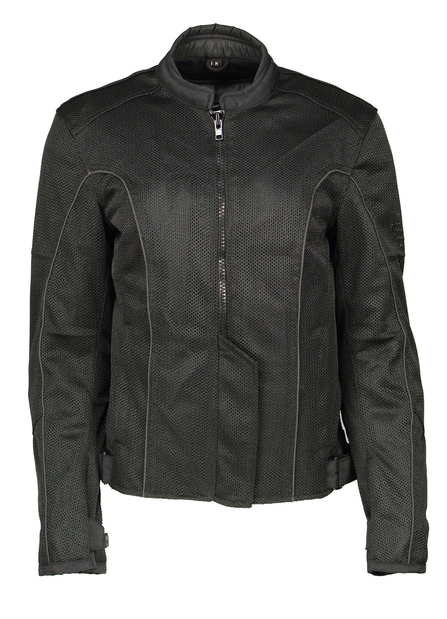 M-BOSS APPAREL-Ladies Mesh Racer Jacket w/Full Armor-BLACK-MD