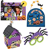Halloween Craft Kit DIY | 3D Haunted House, Dated Picture Frame Magnet, Snoopy Trick or Treat Door Sign, & Children Spider Gl