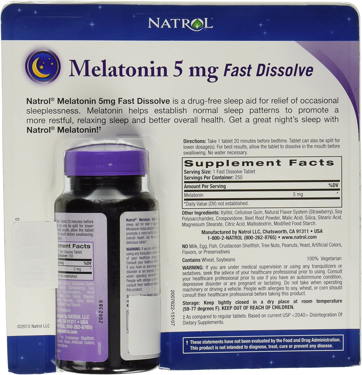 Natrol Melatonin 5 Mg, 250 Fast Dissolve Tablets Strawberry Flavor (Package might vary)