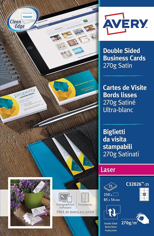 Avery Zweckform C32026 25 Premium Visitenkarten 250 Stuck 85 X 54 Mm Beidseitig Bedruckbar Satiniert