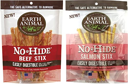 Earth Animal 2pc Combo Pack No-Hide Beef Stix, 10ct Beef and No-Hide Salmon Stix, 10ct.