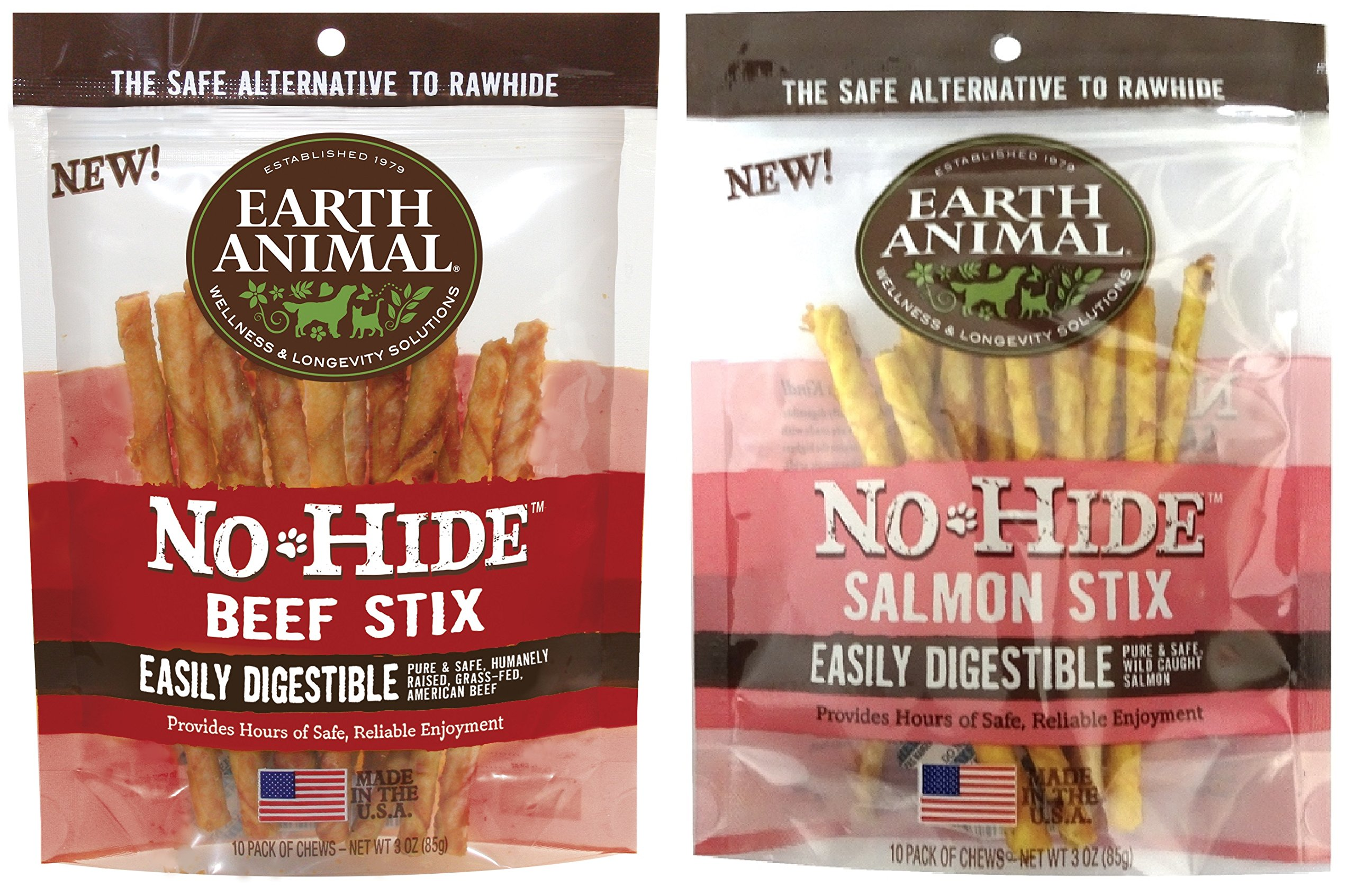 (2pc Combo Pack) Earth Animal No-Hide Beef Stix, 10ct (Beef) and Earth Animal No-Hide Salmon Stix, 10ct.