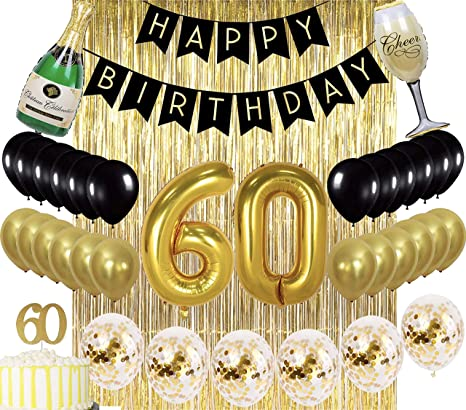 Sllyfo 60th Birthday Decorations Party Supplies Gold Kit