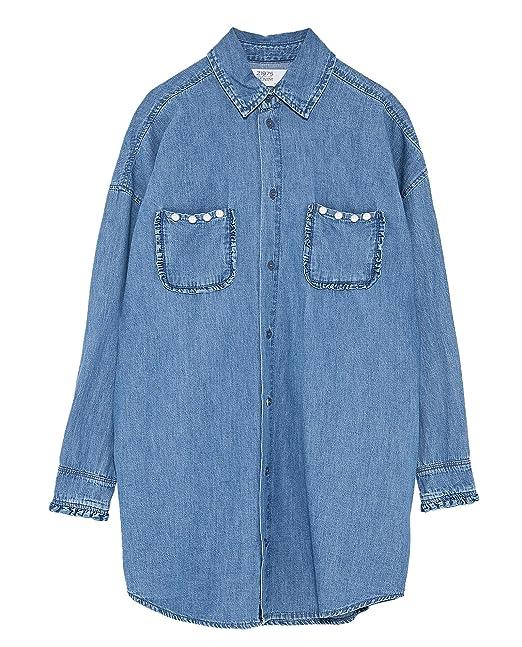 Zara - Camisas - para mujer turquesa X-Small : Amazon.es: Ropa y accesorios