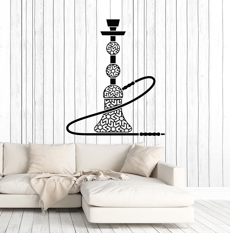 Vinyl Wall Decal Hookah Smoking Shisha Bar Decor Stickers Mural Large Decor (ig4669) Black