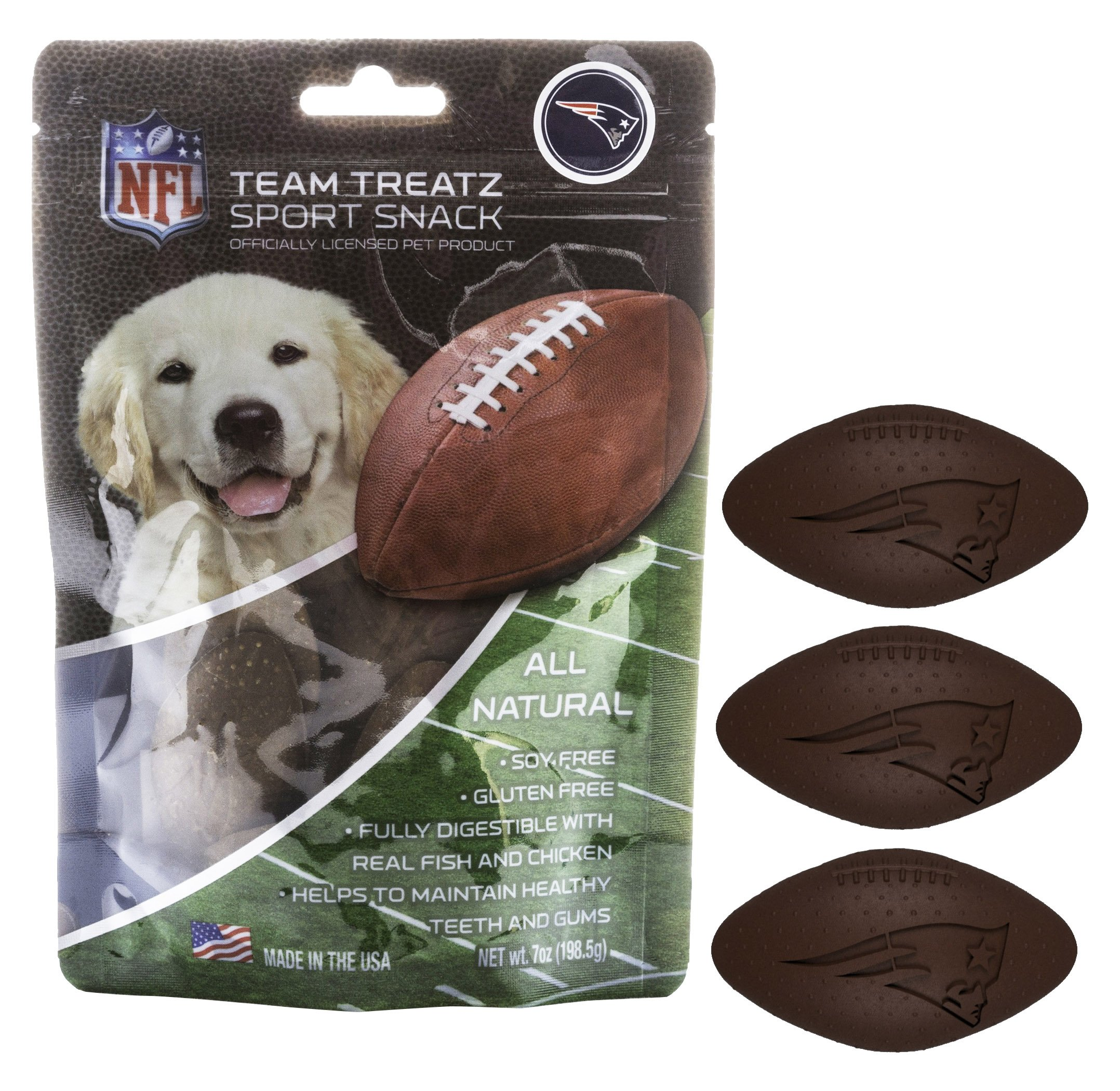 Pets First NFL NEW ENGLAND PATRIOTS DOG FOOD Snack Treat Bone-Free. Dog Training Cookies Tasty Biscuits for Dog Rewards. Provides Healthy Dog Teeth & Gum, Soy-Free, Gluten-Free.