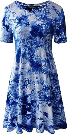 Zero City Women's Casual Tie Dye Loose T-Shirt Tunic Dresses