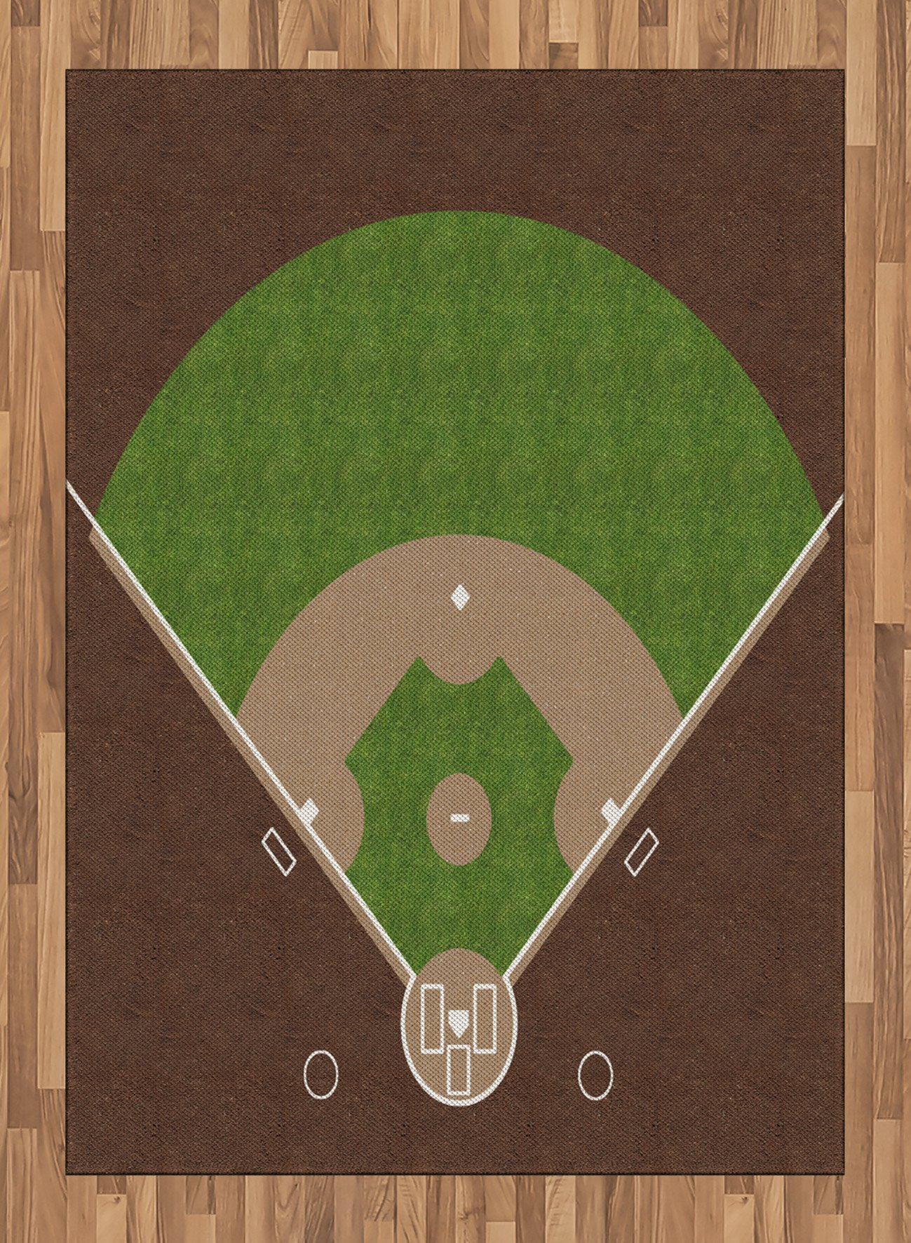 Boy's Room Area Rug by Lunarable, American Baseball Field with White Markings Painted on Grass Print, Flat Woven Accent Rug for Living Room Bedroom Dining Room, 5.2 x 7.5 FT, Lime Green Chocolate Tan