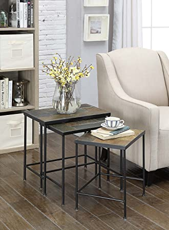 4D Concepts 3 Piece Nesting Tables With Slate Tops, Metal/ Slate