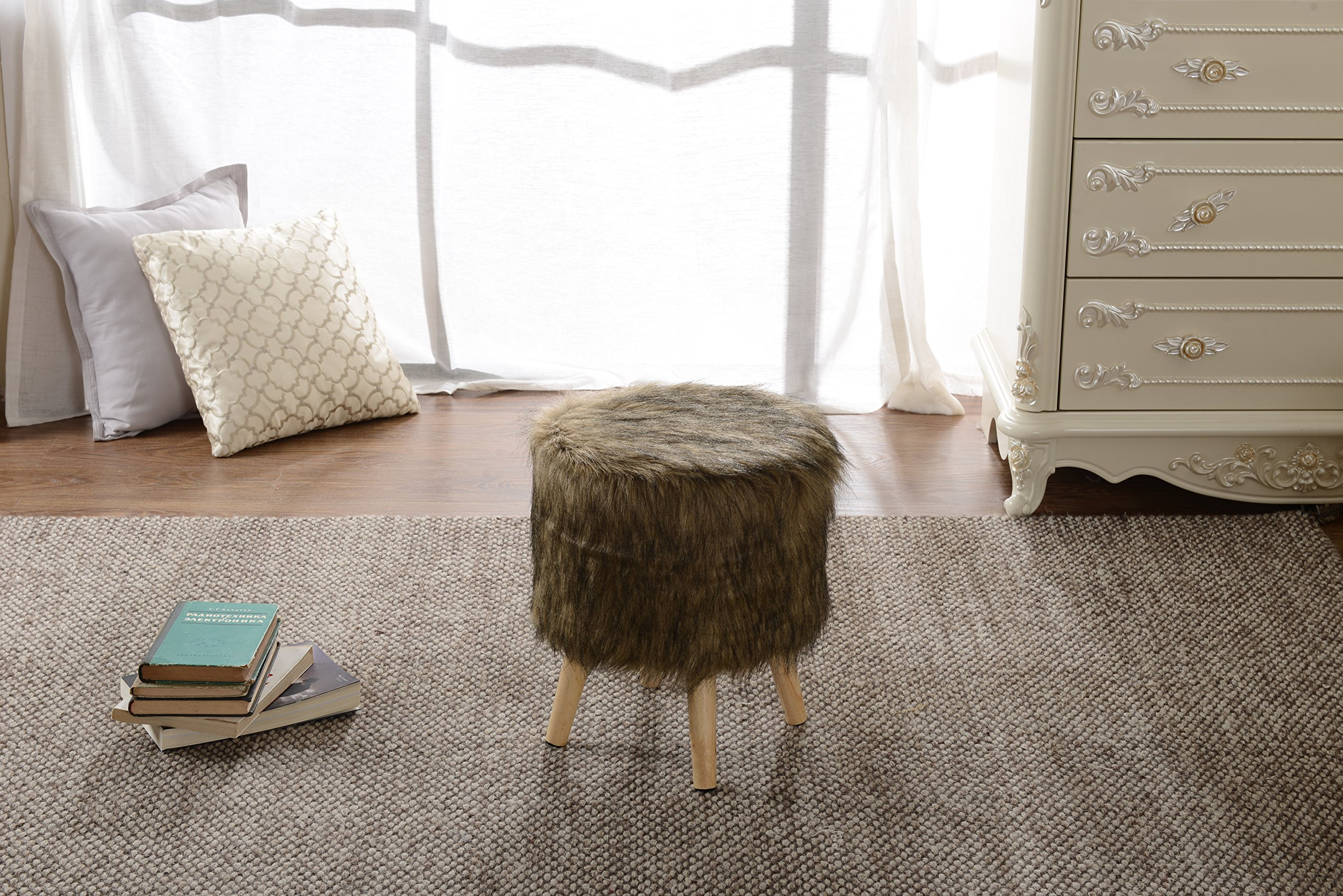 Cheer Collection 13'' Round Ottoman | Super Soft Decorative Brown Mink Faux Fur Foot Stool with Wood Legs by Cheer Collection (Image #5)
