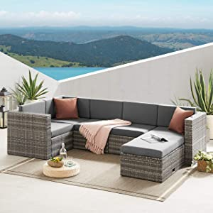 Volans 4 Pieces Patio Furniture Sets, Patio Garden Backyard Rattan Conversation Set, Outdoor PE Wicker Sectional Sofa Couch with 2 Pillows and Glass Table, Gray