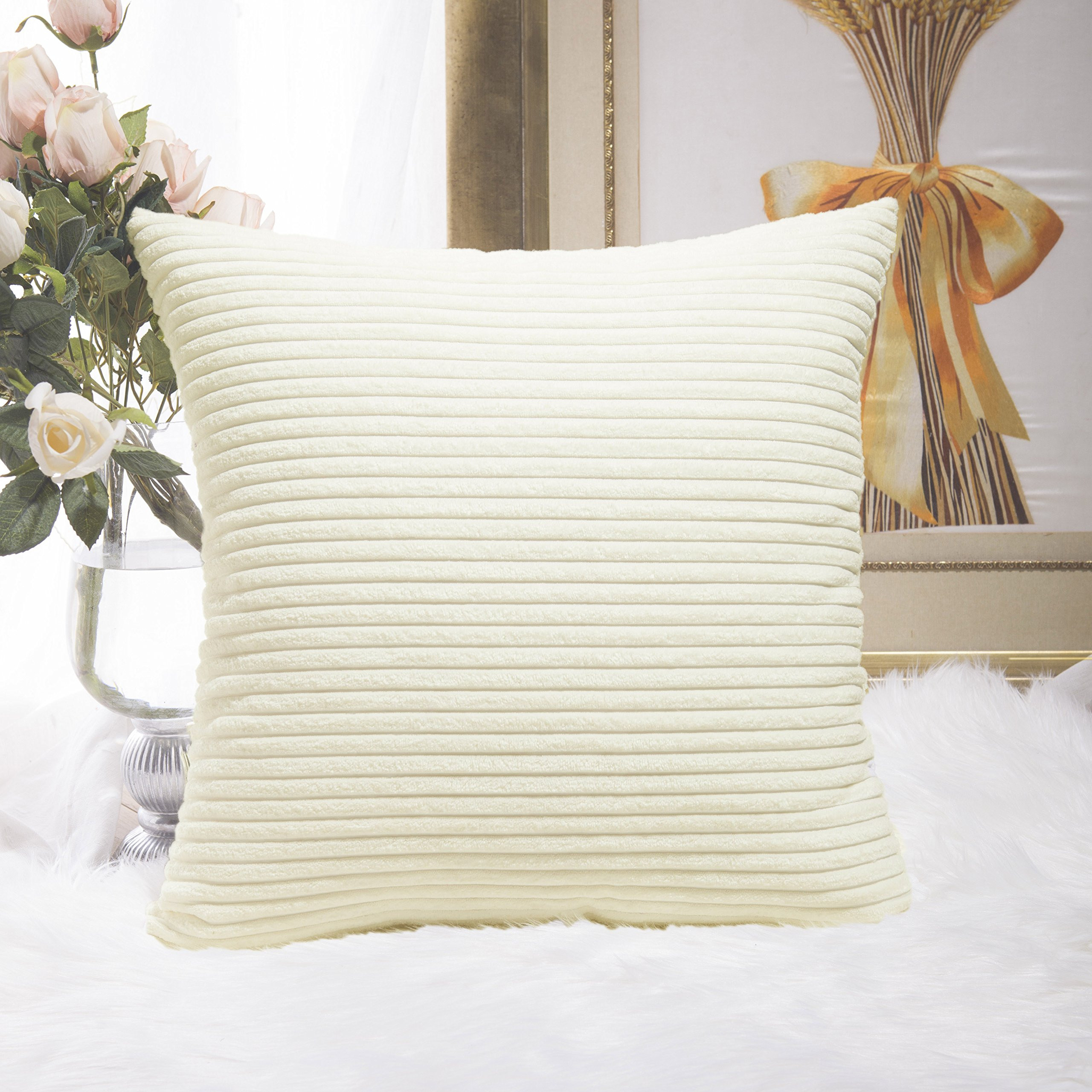 HOME BRILLIANT Striped Corduroy Euro Throw Pillow Sham Couch Cushion Cover for Teen Girls, 24 x 24 inch (60cm), Creamy White
