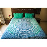 Folkulture Tealtastic Ombre Bedspread with Pillow Covers, Indian Bohemian Tapestry Wall Hanging, Picnic Blanket or Hippie Beach Throw, Hippy Mandala Bedding for Bedroom, Blue Queen Size Boho Spread