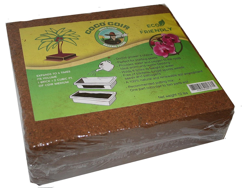 Amazon.com : Green Texan Organic Farms Compressed Coconut Coir Brick, 11  Pound (lb) (11 Pound) : Garden & Outdoor