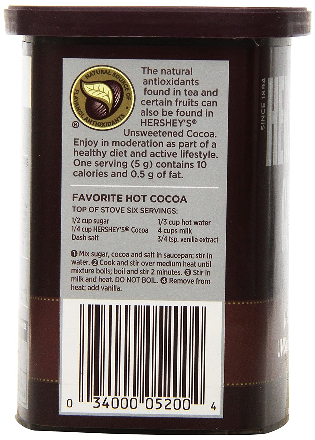 Amazon.com : Hershey's Cocoa, Unsweetened, 8-Ounce Container ...