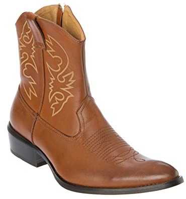 Mens Western-Boots Slip On Side Zipper Point Toe Cowboy Boots