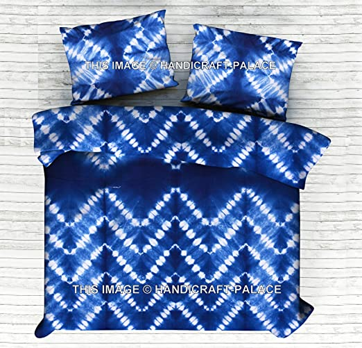 Indian Tie Dye Shibori Duvet Cover Handmade Quilt Cover Indigo Comforter Cover